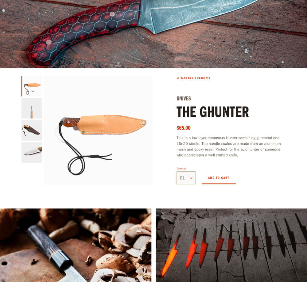 A product detail view for the Gun Metal Forge website showing a knife for sale