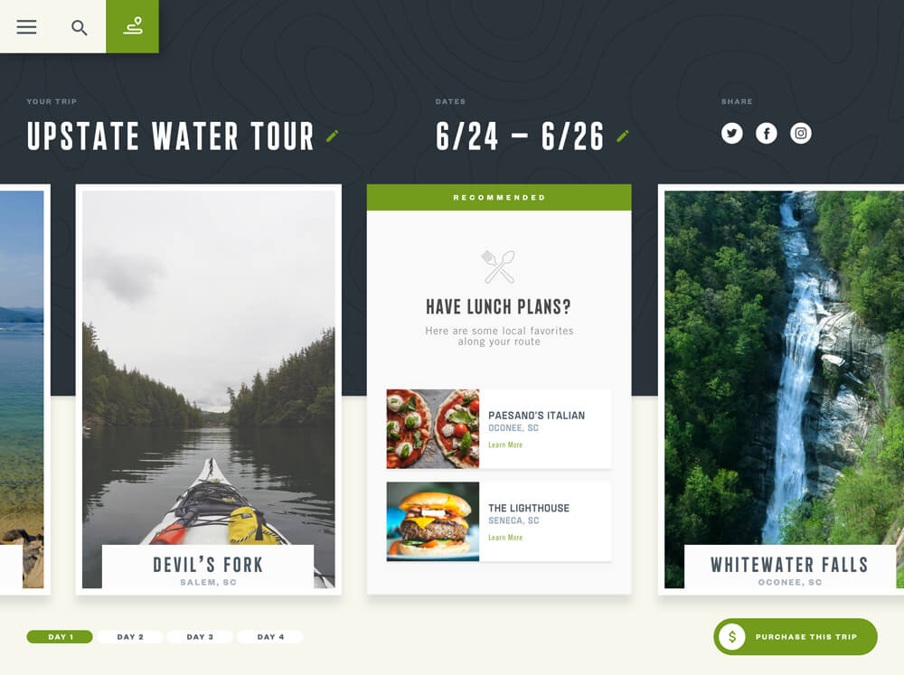 A trip planning dashboard showing a sample itinerary for exploring the upstate of south carolina