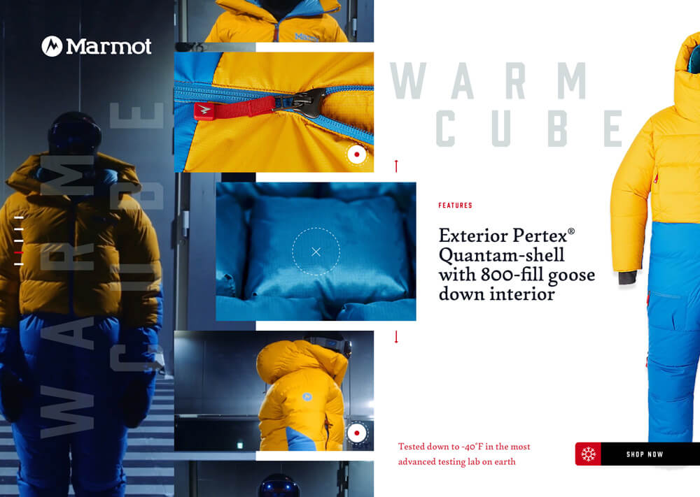 A product detail page for a marmot jacket