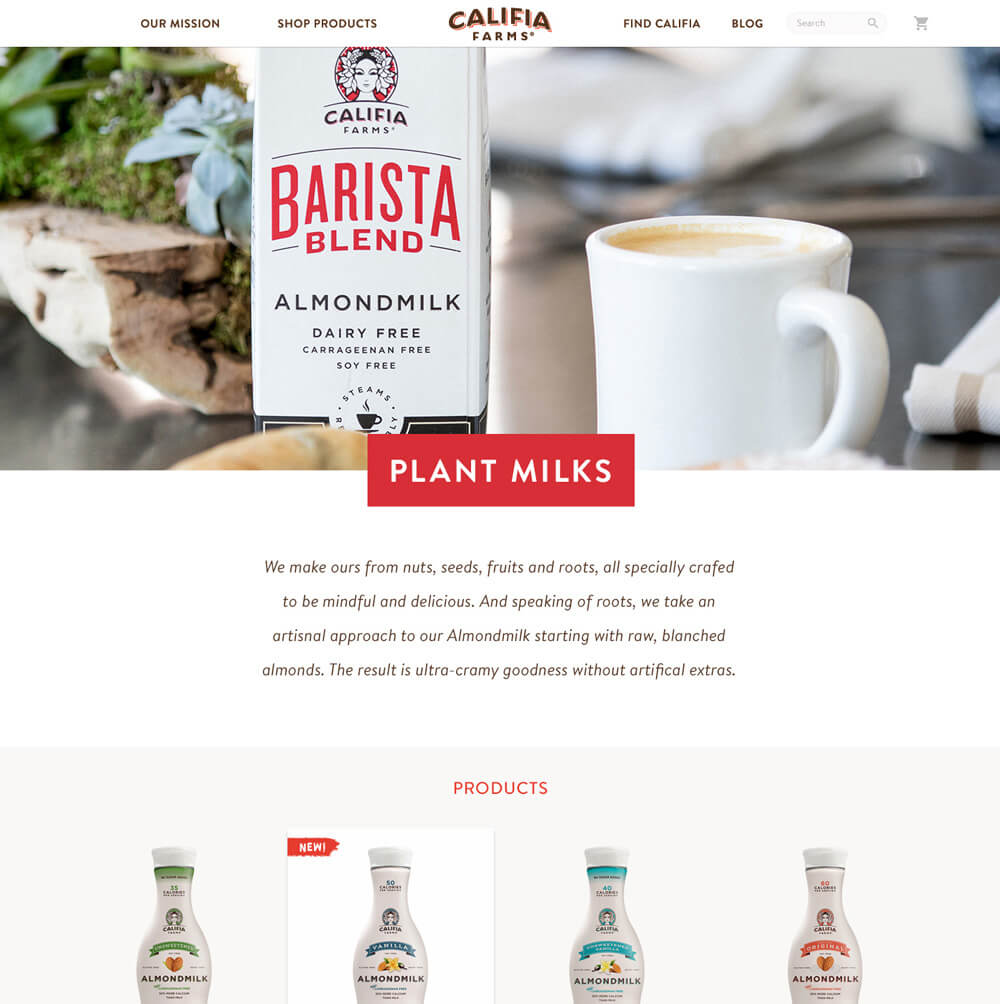 A product category page for Califia almond milk