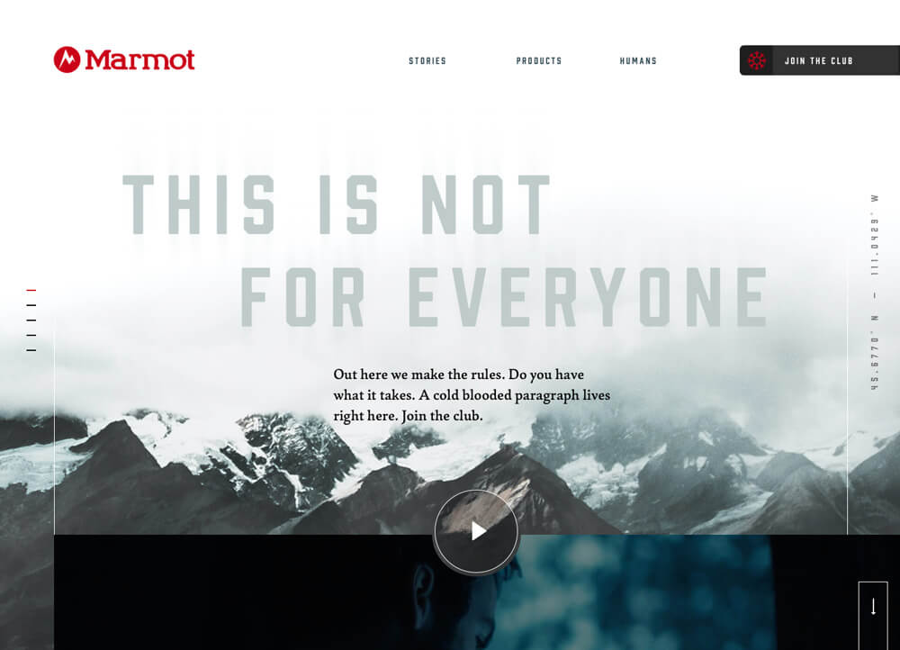 A campaign homepage for designed for Marmot