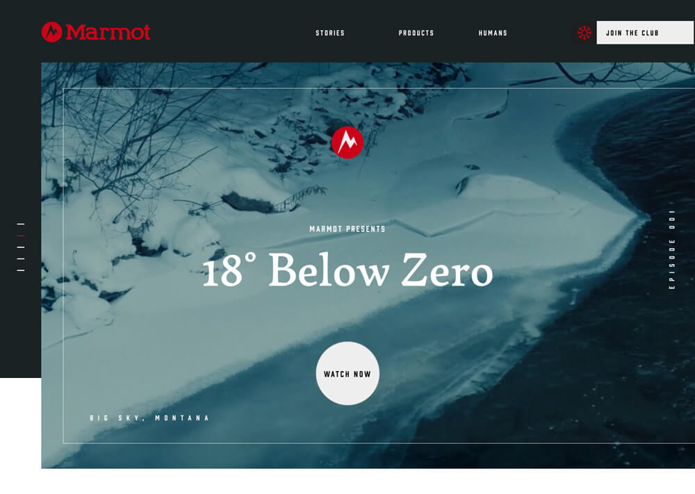 A campaign homepage designed for Marmot