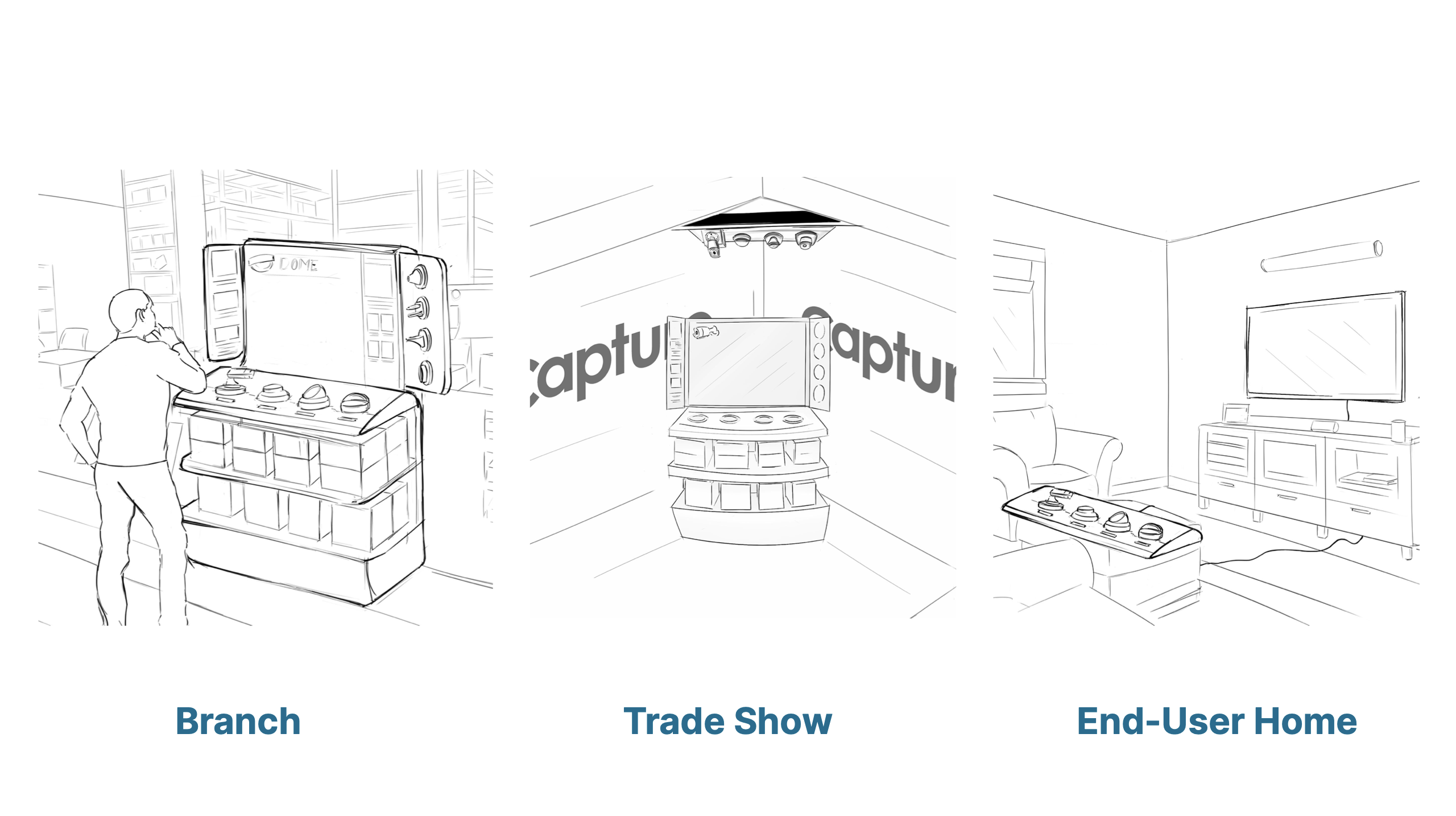 The system can be adapted to work anywhere in the store, like an end cap or a check-out line. It's versatile enough to be removed and brought to the user's home, or set up at a trade show.