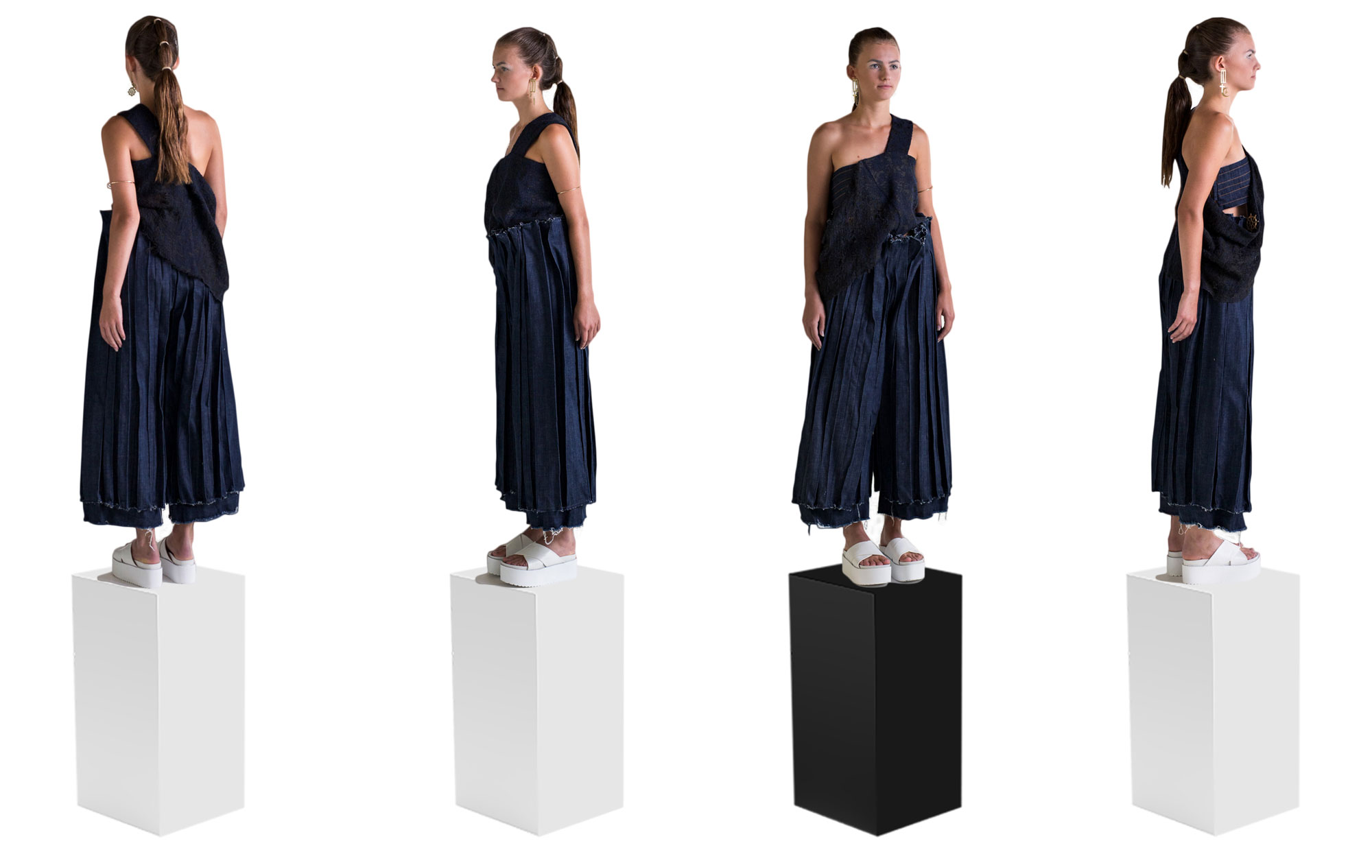 Front, back and side views of textile silhouette with asymmetrical wool top and three dimensional pants