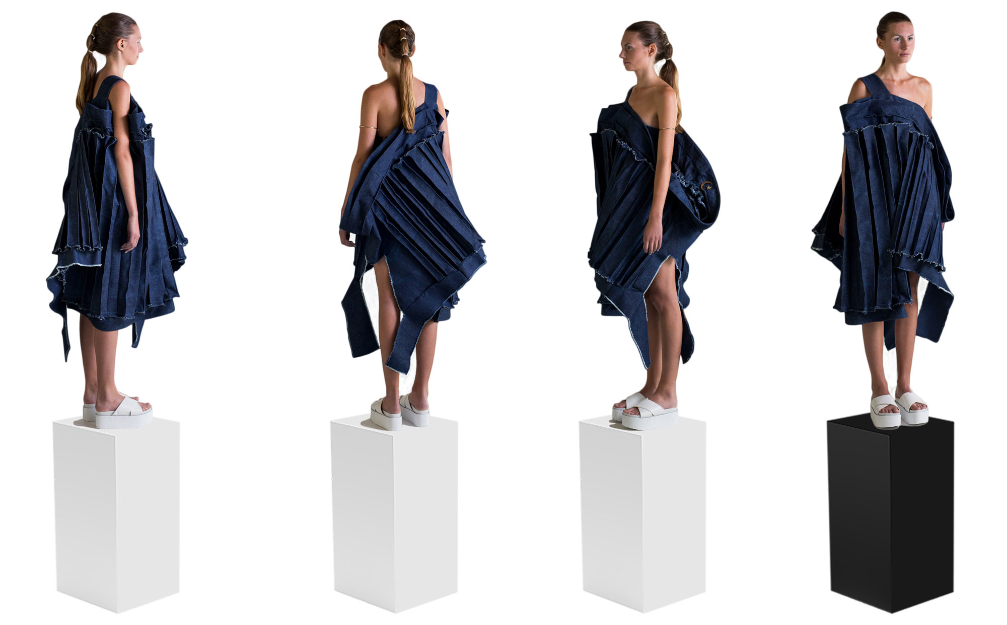 Front,back,and side views of textile silhouette with asymmetrical three-dimensional top and pants made of destroyed wool fabric