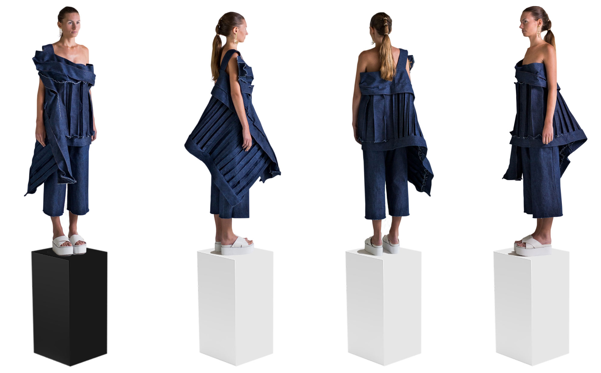 Front, back and side views of textile silhouette with asymmetrical three dimensional denim top and pants