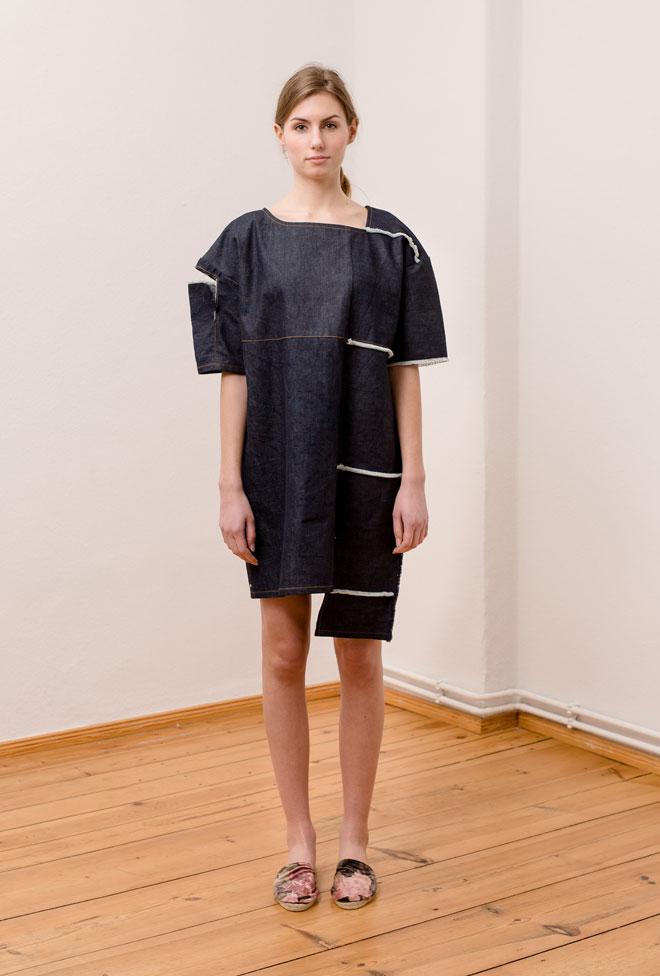 Denim dress with white horizontally aligned fringes