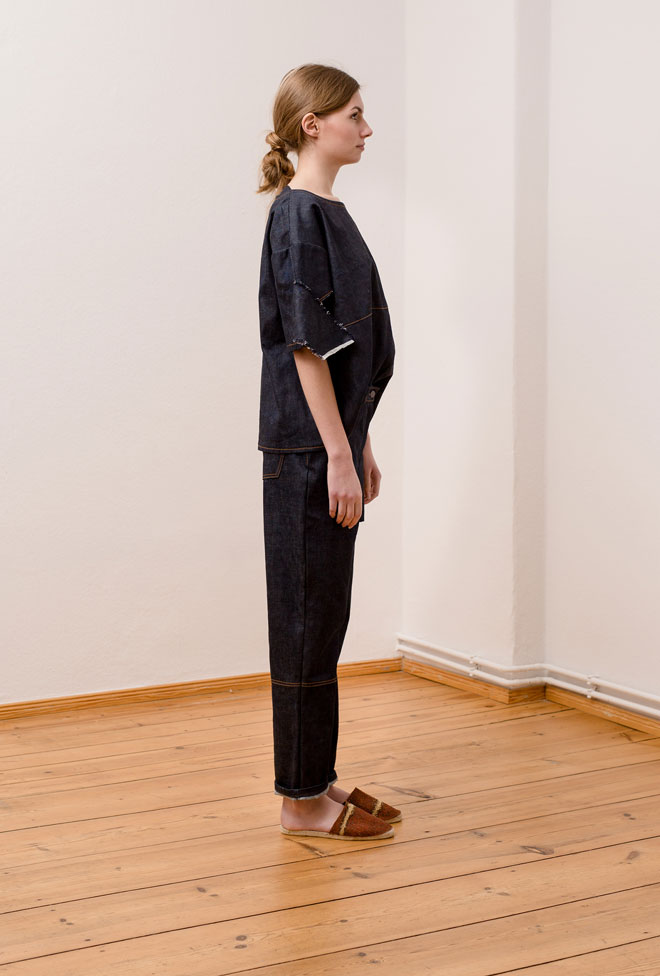 Side view  of Denim oversized t-shirt with matching jeans