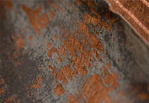 Brown bark fabric with dark three-dimensional print surface