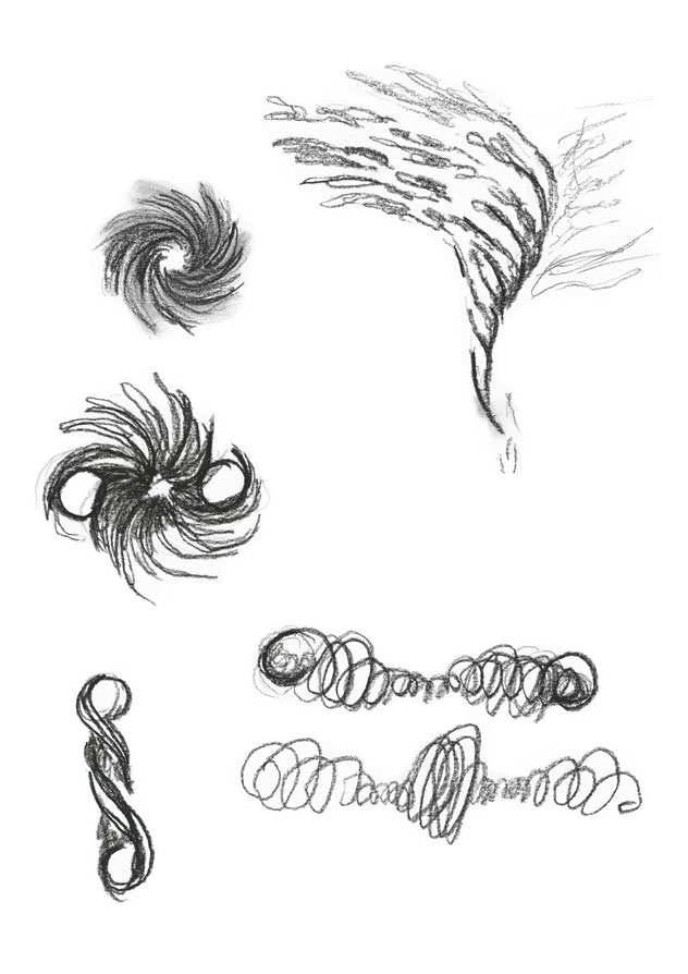 Charcoal sketch for the word swirl visualized by different representations of swirls intermediate round objects