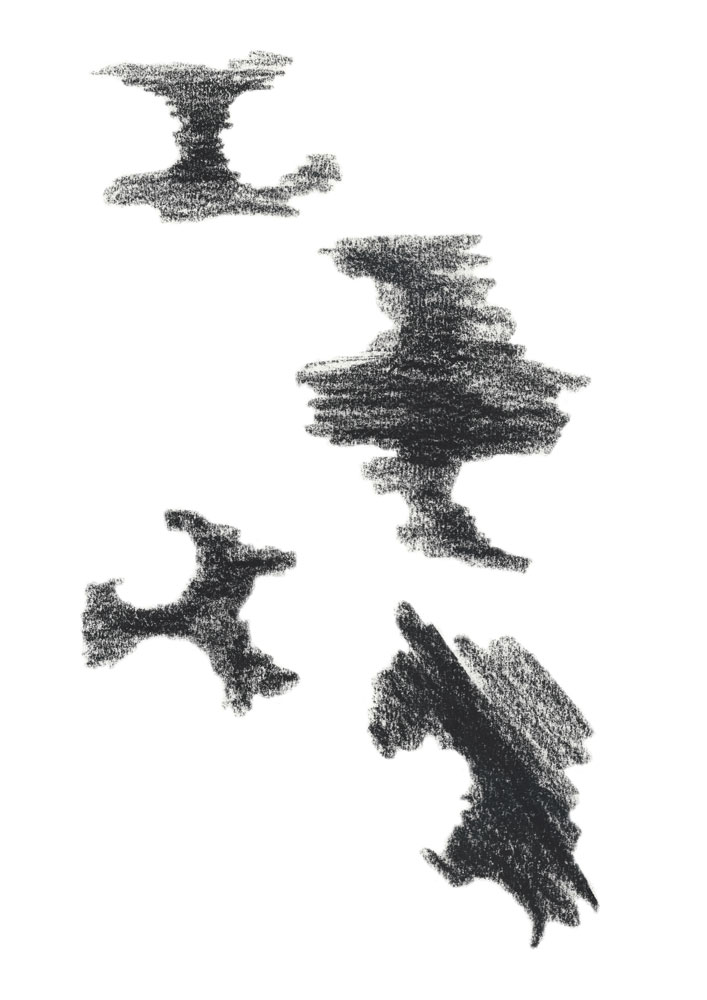 Abstract charcoal sketch about the volume between two objects in a connection