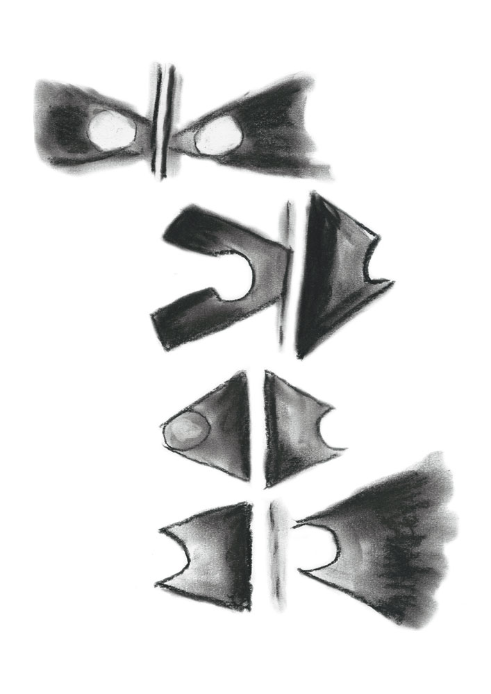 Abstract charcoal sketch about the barrier between objects that are connecting or not connecting