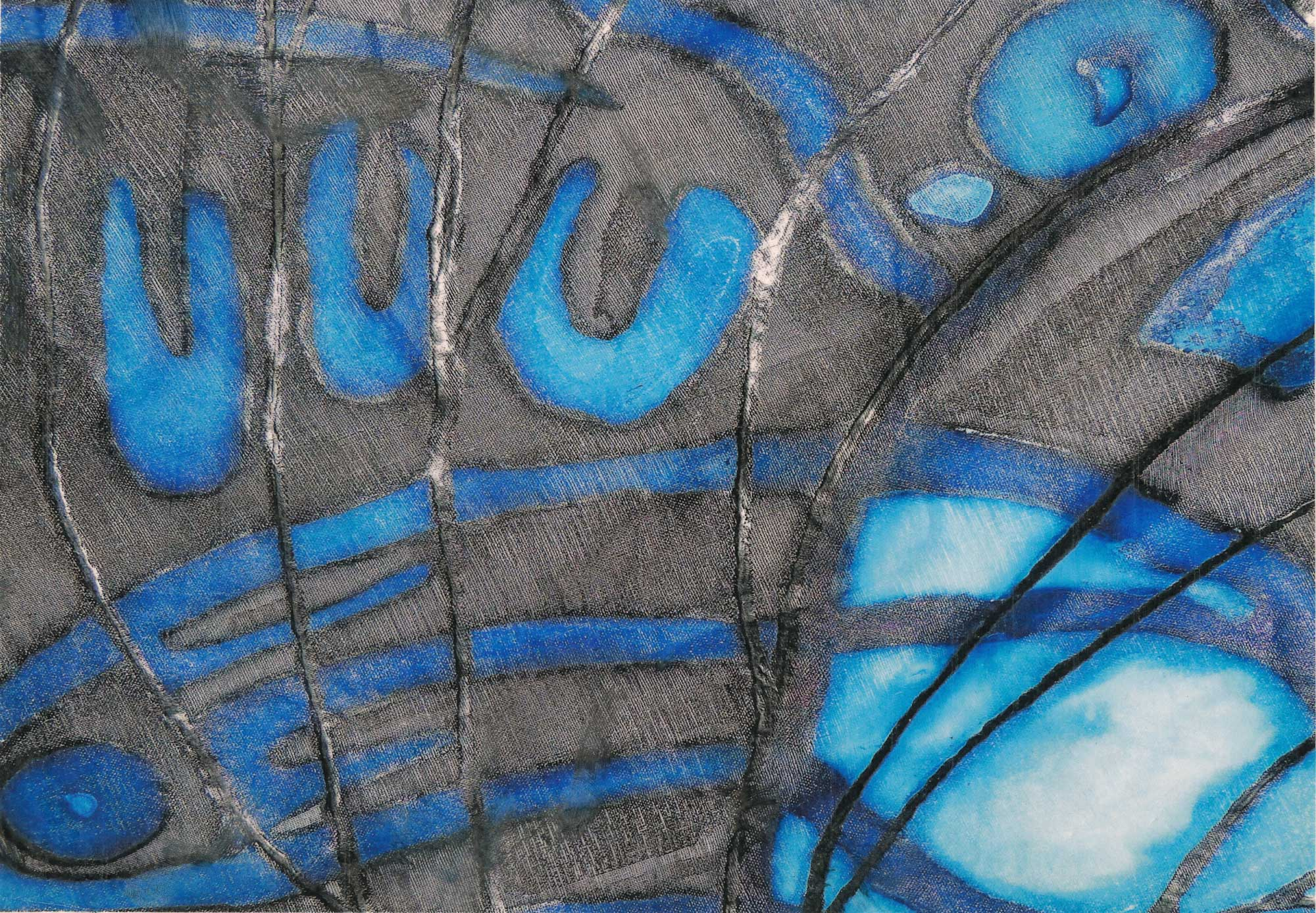 Silk painting of butterfly wings in blue and black, close-up