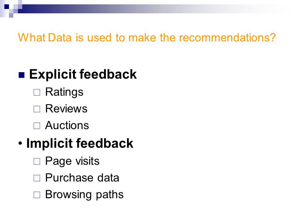 Explicit feedback data vs Implicit feedback data