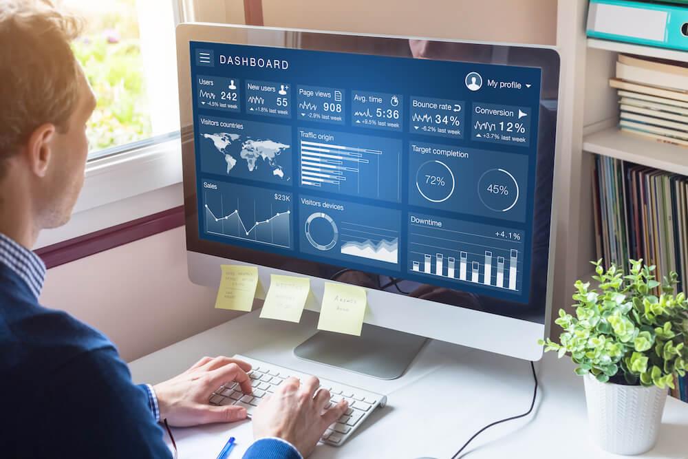 Dashboard of churn prediction model statistics