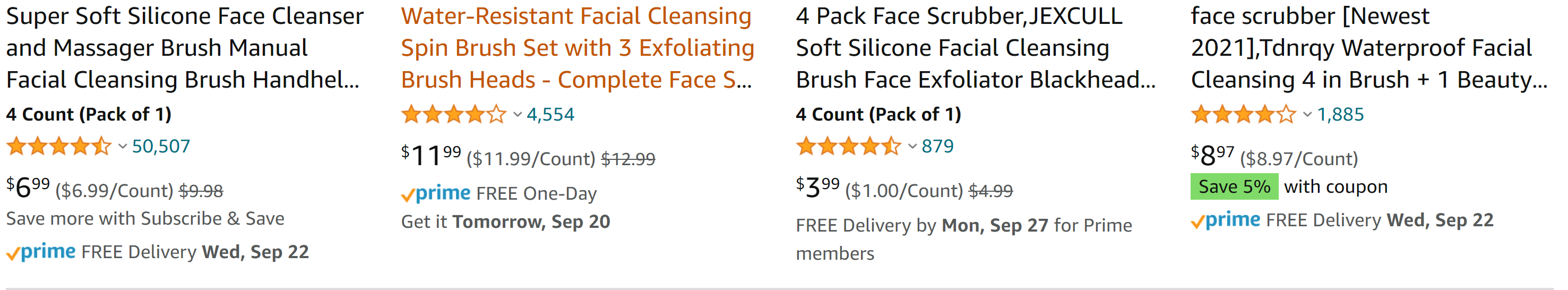 face scrubber listings