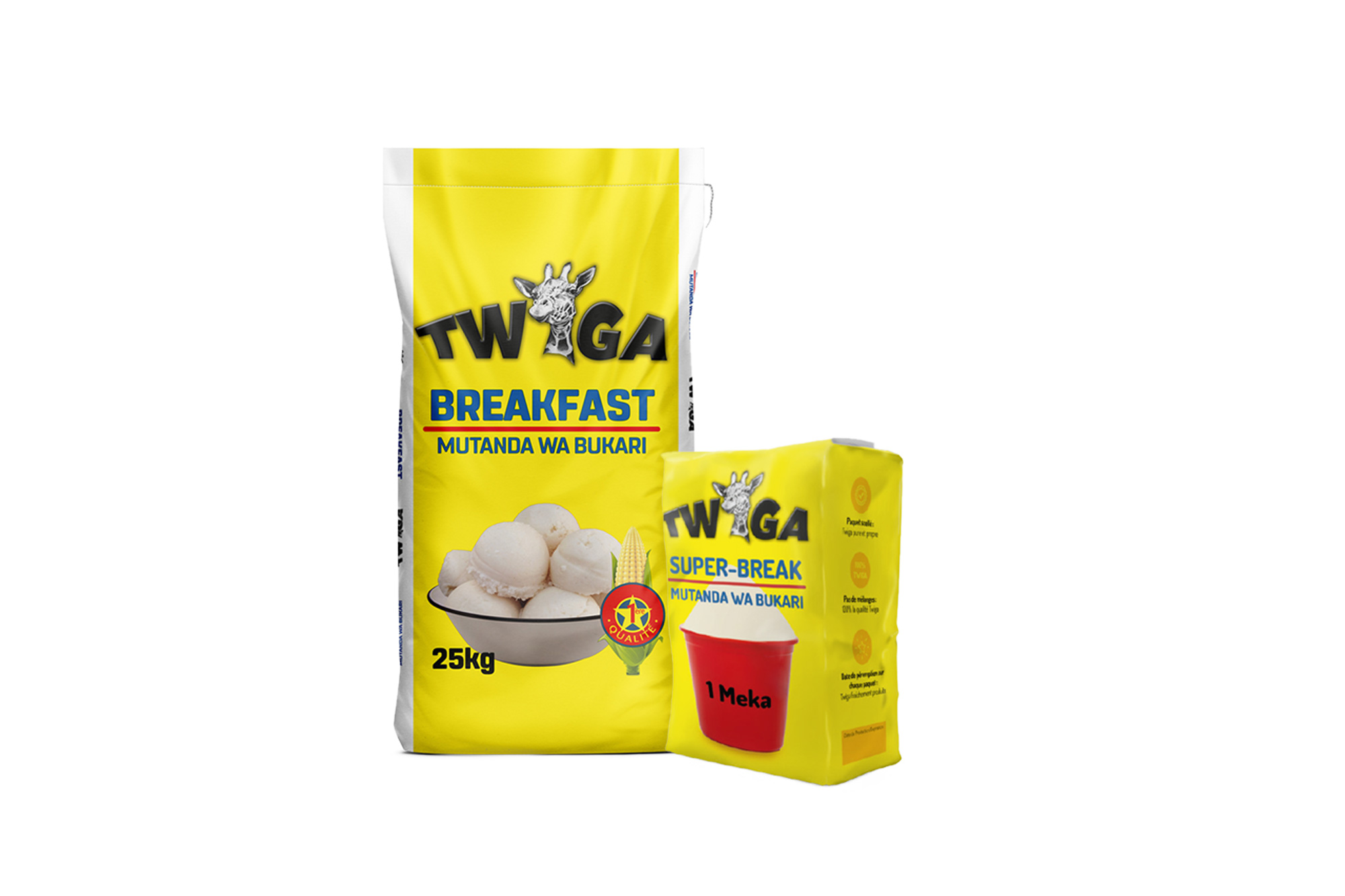 """""""Twiga"""" - the Swahili word for Giraffe is a superior perfectly granulated, premium Maize Meal product, that is known for its distinguished quality, going from its high-end packaging all the way to the perfectly milled maize meal with a balanced granulation for a very 'long-lasting' Bukari. Available in 25kg and the handy 'Meka' packaging."""