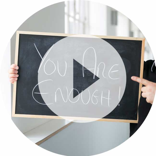 "The Therapy Lounge - Blackboard displaying ""You are enough"" - London Hypnotherapy, NLP & CBT"