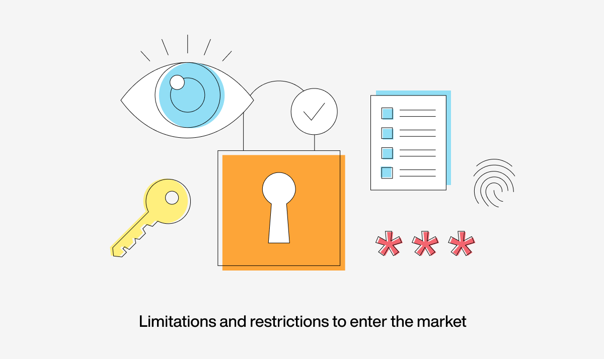 Consider limitations and restrictions to enter the market