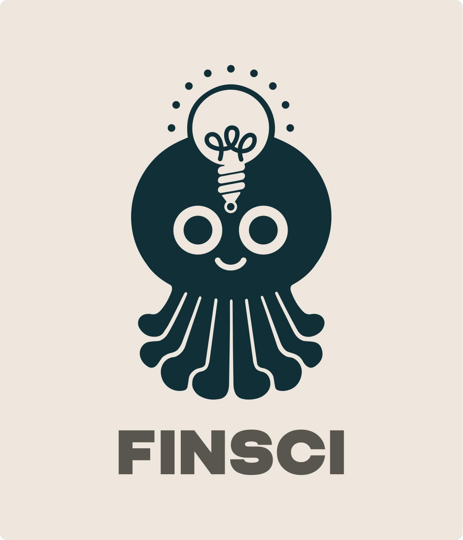 FINSCIs logo, en leende bläckfisk med en idélampa på pannan