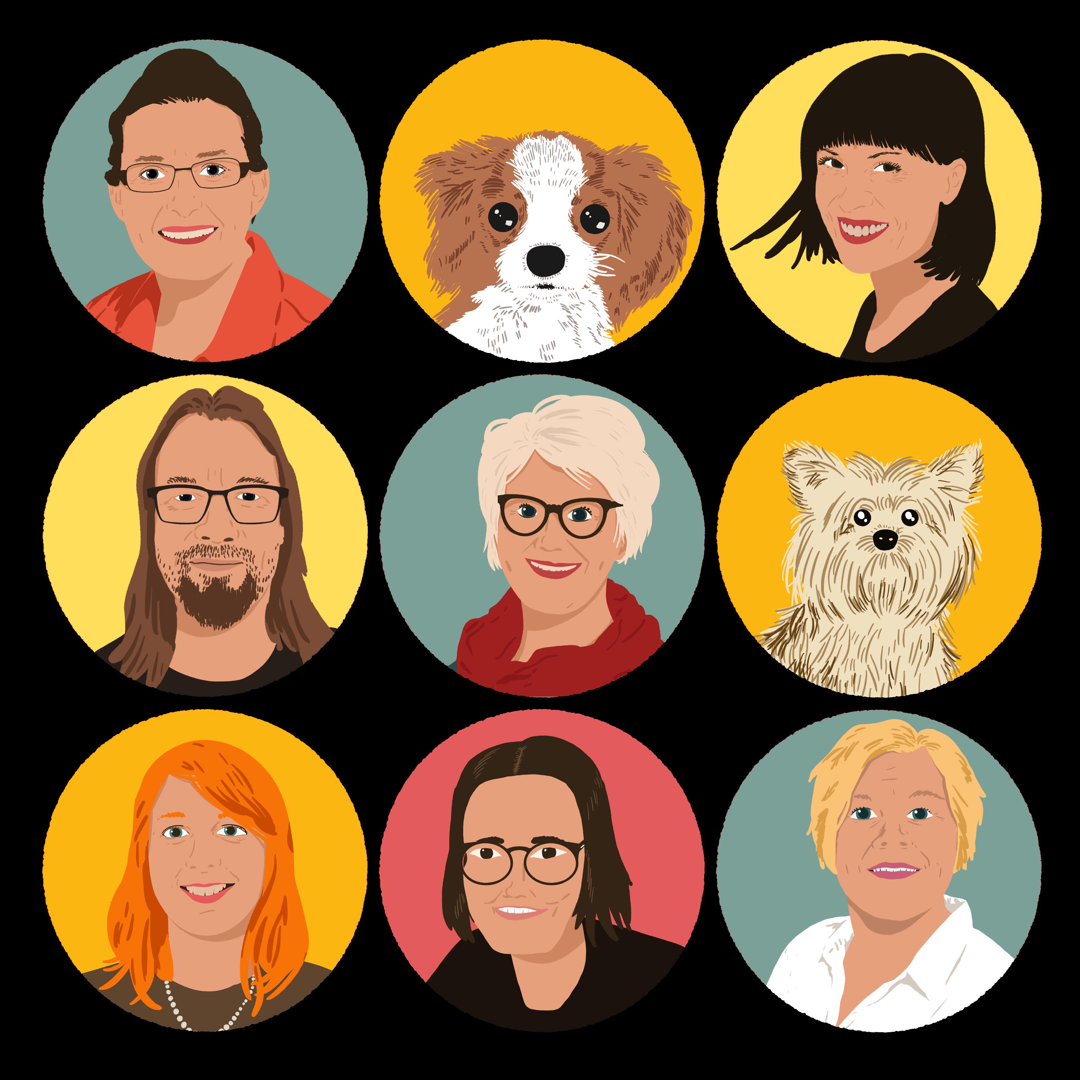Grupifoto, illustratsioon, kus on kujutatud uurimisrühma liikmed