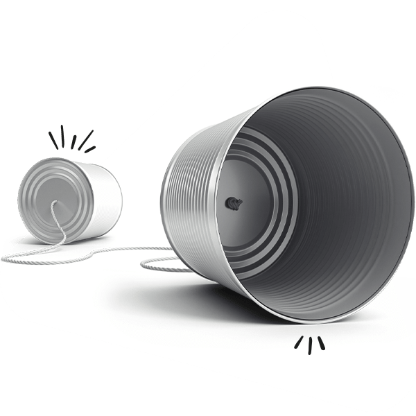 Two metal cans with a string depicting communication