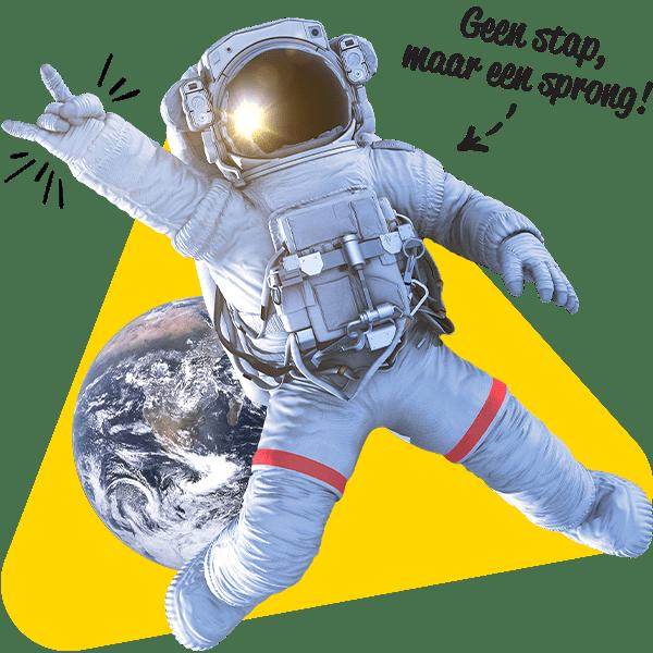 Een astronaut die een sprong in de groei maakt