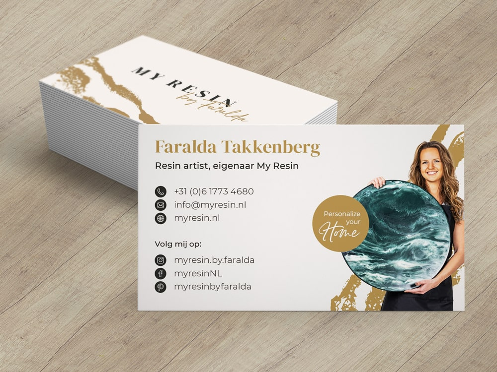 A picture of business cards for My Resin