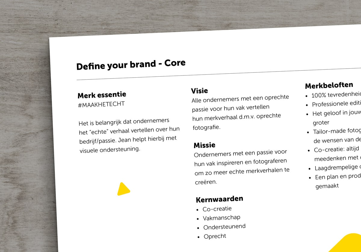 A visual displaying a page of Jean Haasbroek his BrandCore book
