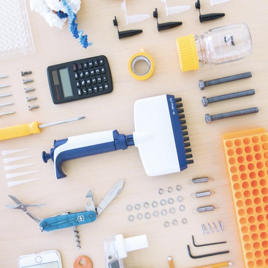 CRISPR Lab tools laid out on desk