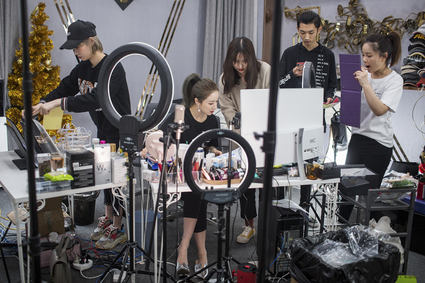 Viya Huang, one of the world's most influential KOLs, prepares for a Singles' Day livestream event.