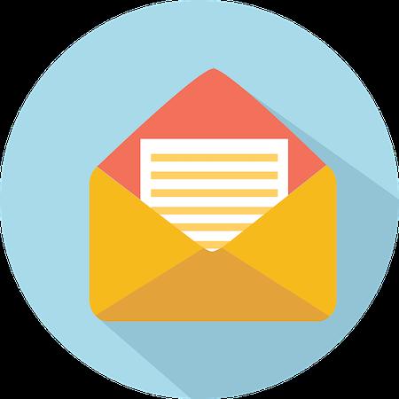 illustration of open envelope on blue background