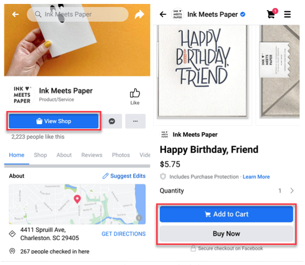 example of facebook shop home page