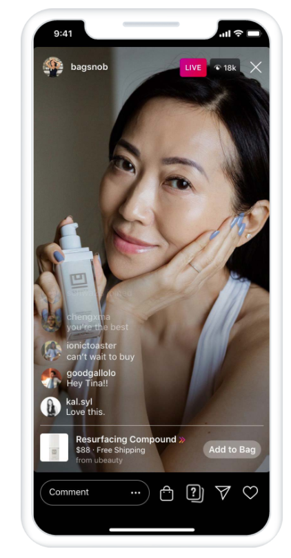 woman selling face cream on instagram story