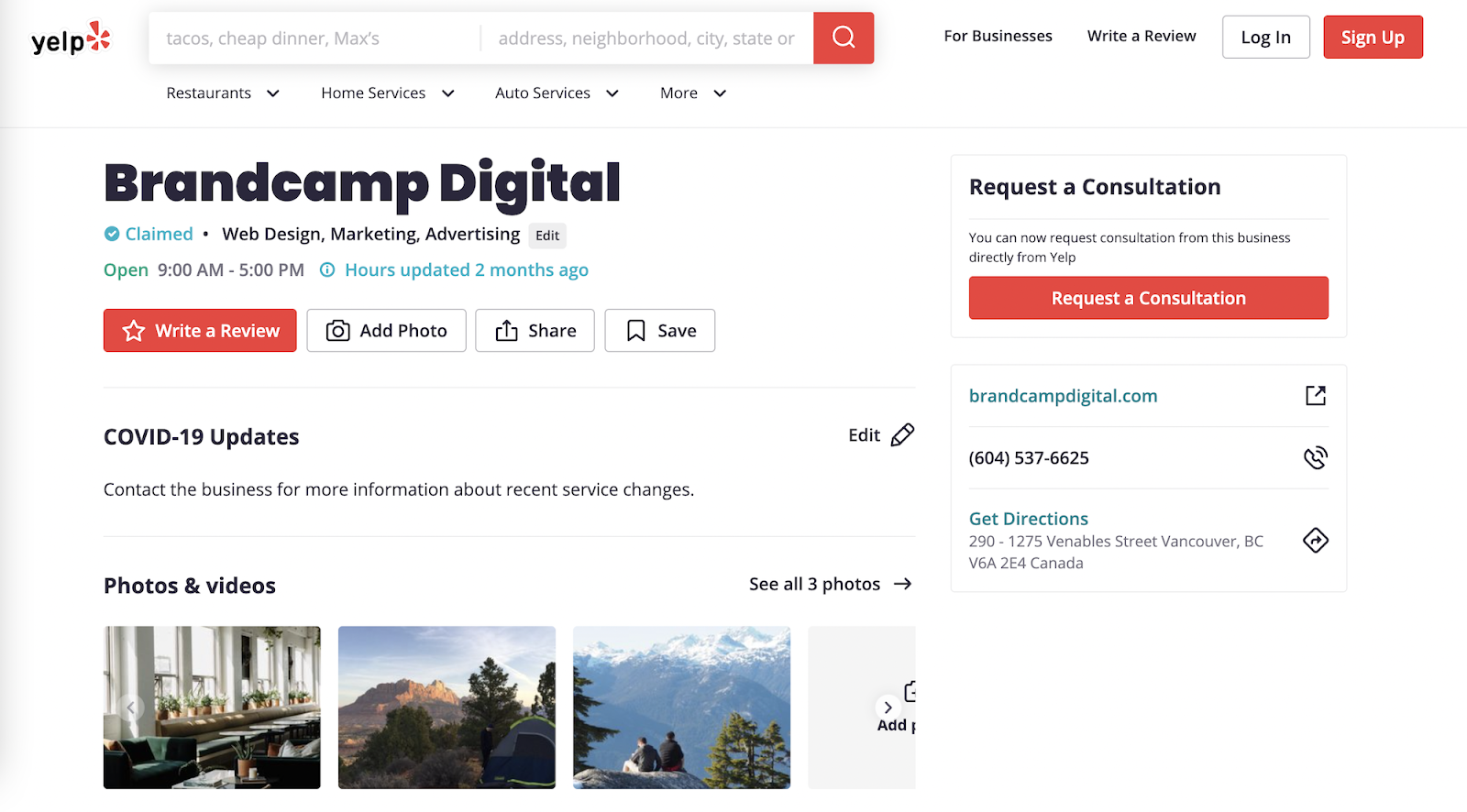brandcamp digital yelp listing front page