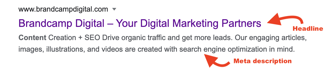 brandcamp digital search engine result with headline and meta description highlighted
