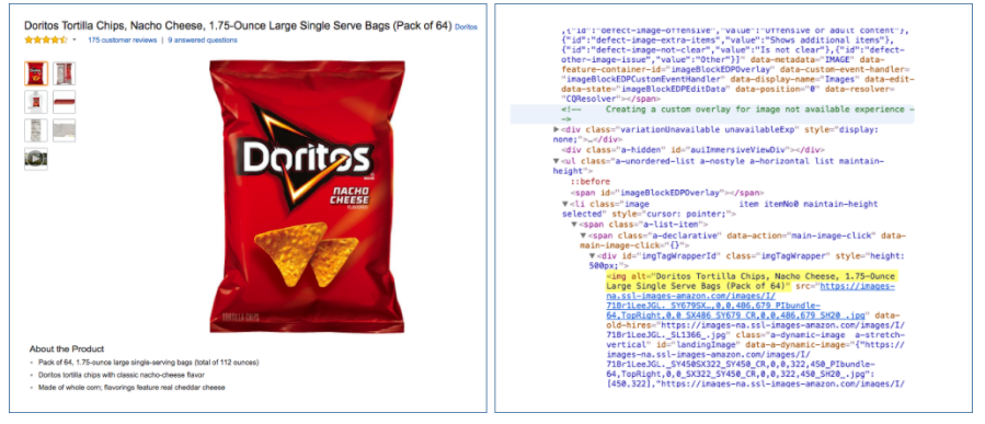 bag of doritos with alt text and search engine index example on right side
