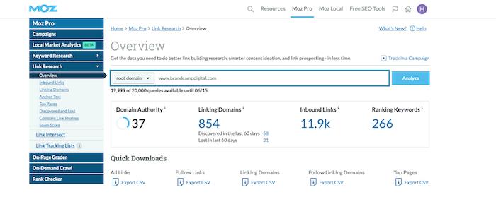 moz keyword research link explorer tool