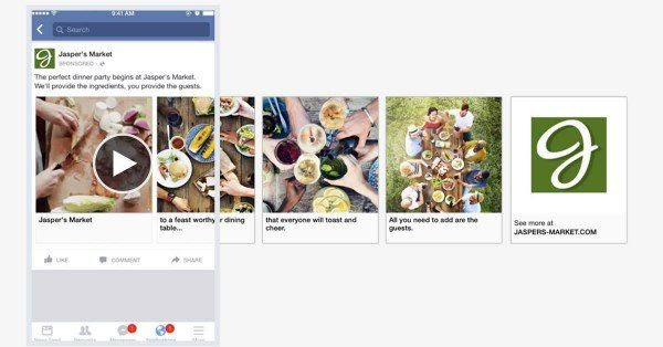facebook carousel ad with photo and video content