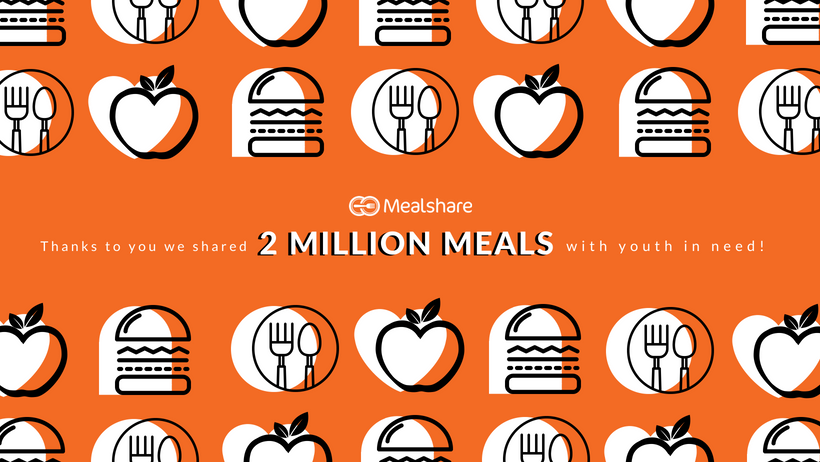food icons on orange background with text saying 2 million meals have been given through mealshare
