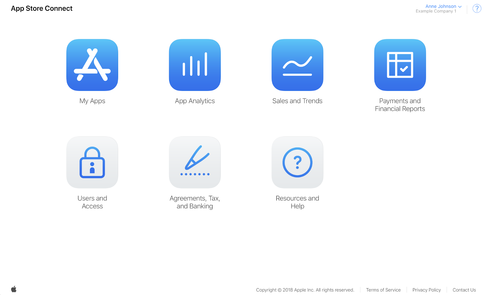 The App Store Connect portal dashboard.