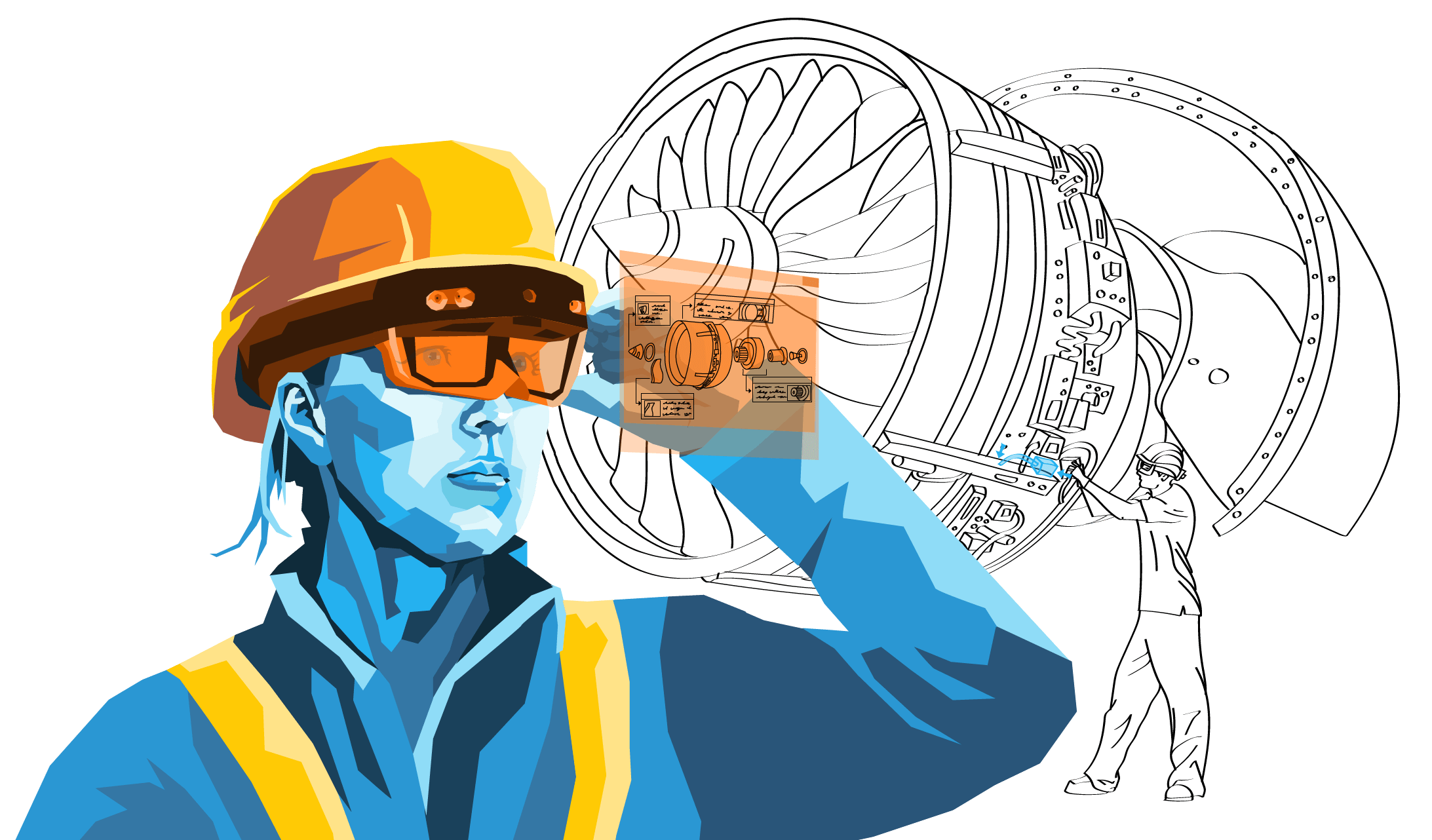 AR assembly instructions being used by worker to pull up manual through his AR headset - Interaptix Illustration