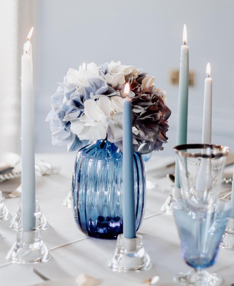 A blue floral table centre.