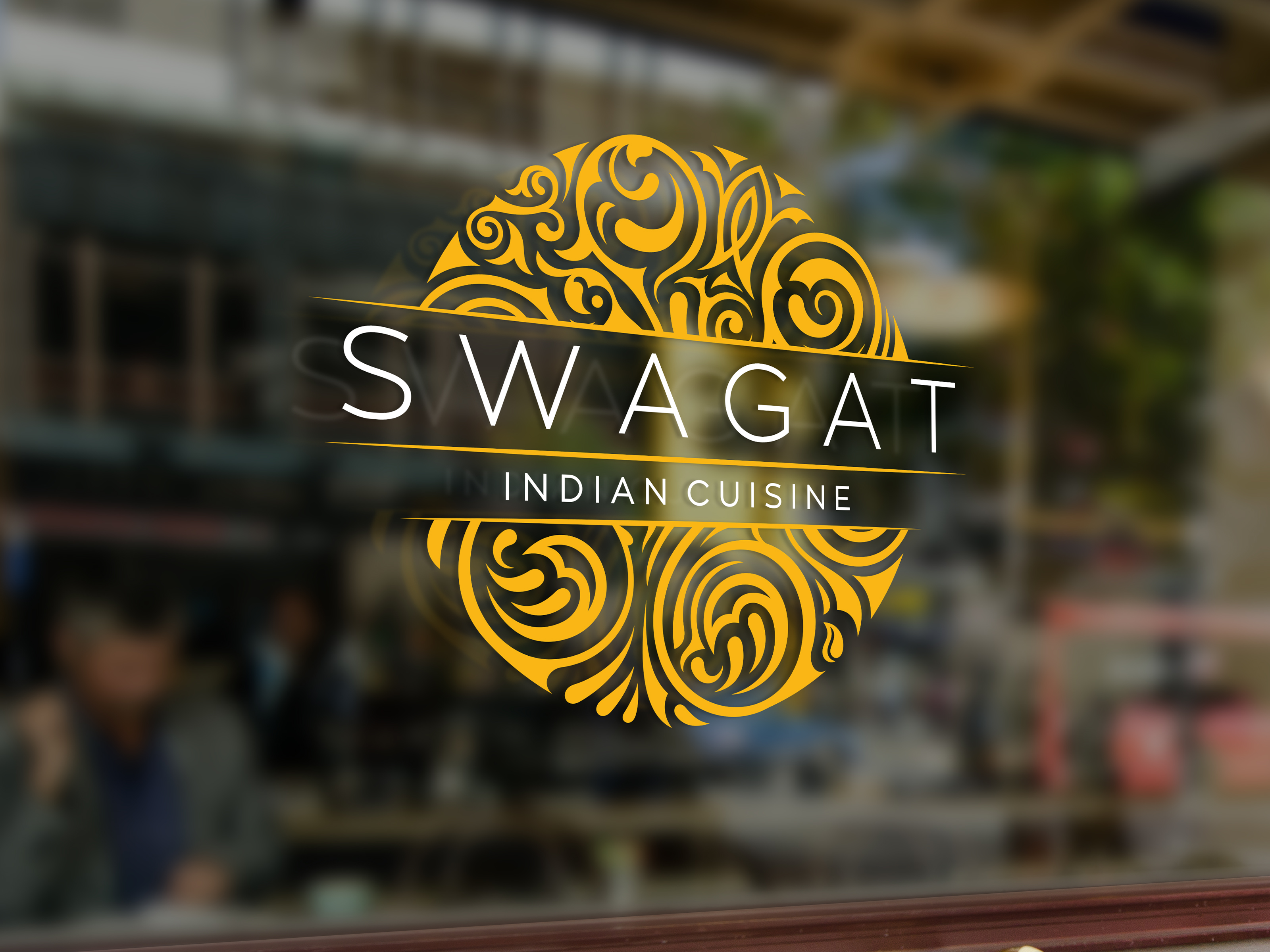 Swagat portfolio display. Logo mocked up on window of restaurant.
