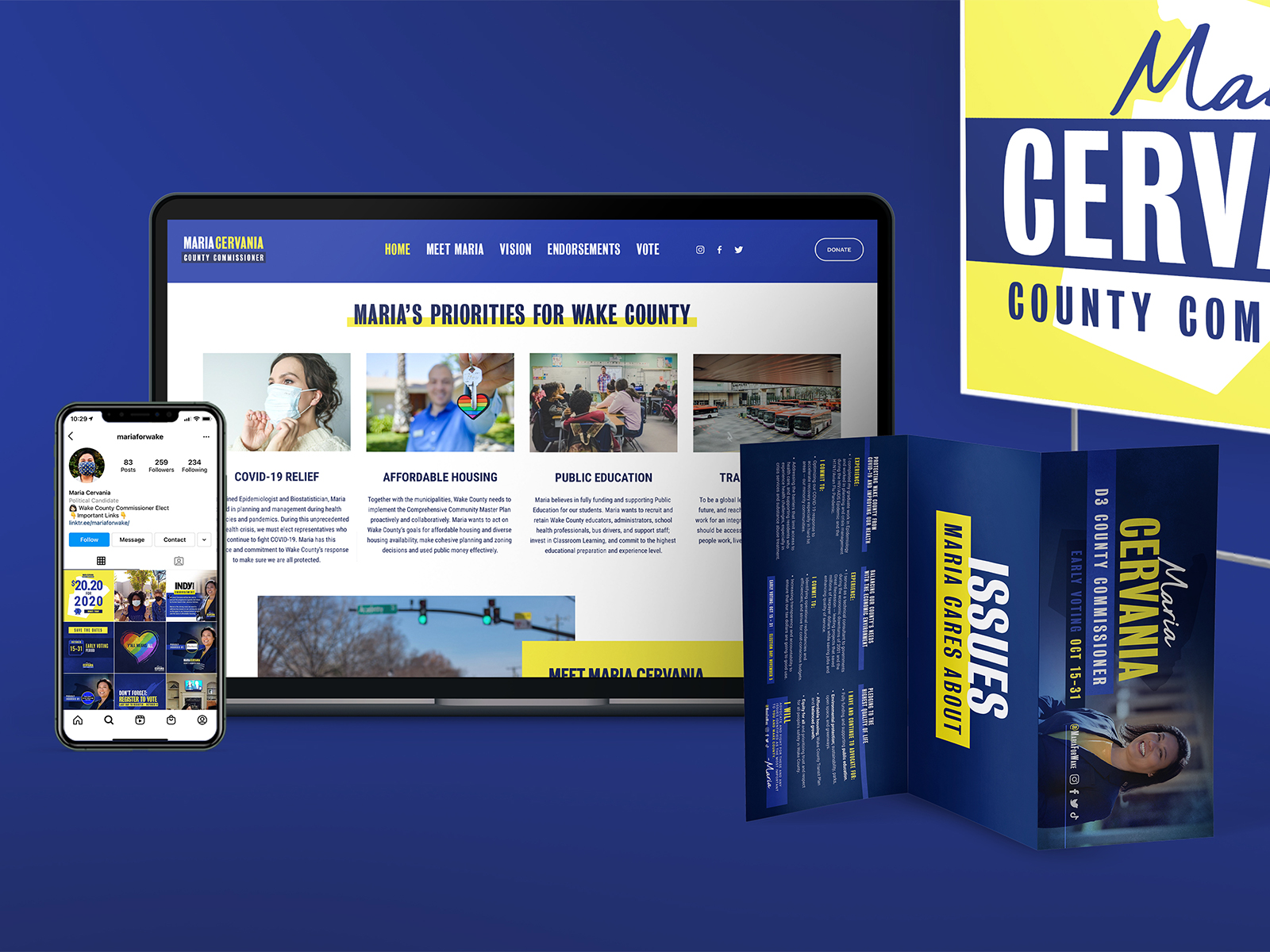 Maria Cervania portfolio display. Campaign materials presented together. Yard sign. webpage on desktop, iphone, and ipad. Folded brochure mailer.