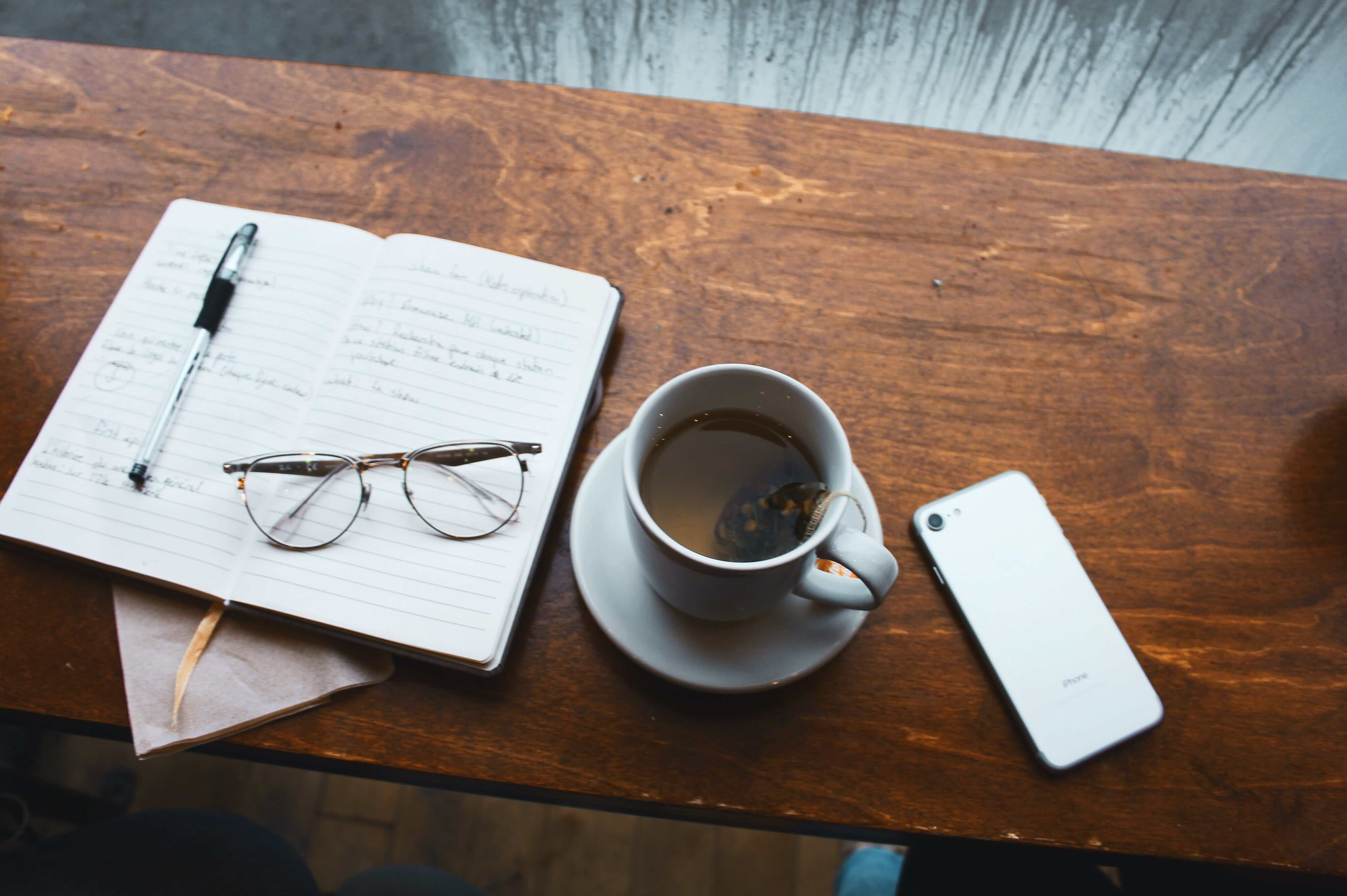 Notebook, coffee, phone, tools for any small business owner or entrepreneur to file or register their business