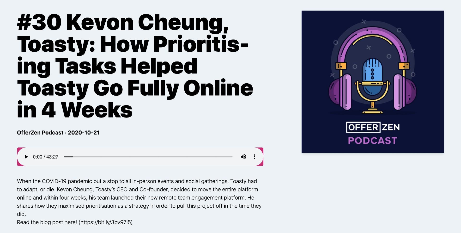 How Prioritising Tasks Helped Toasty Go Fully Online in 4 Weeks