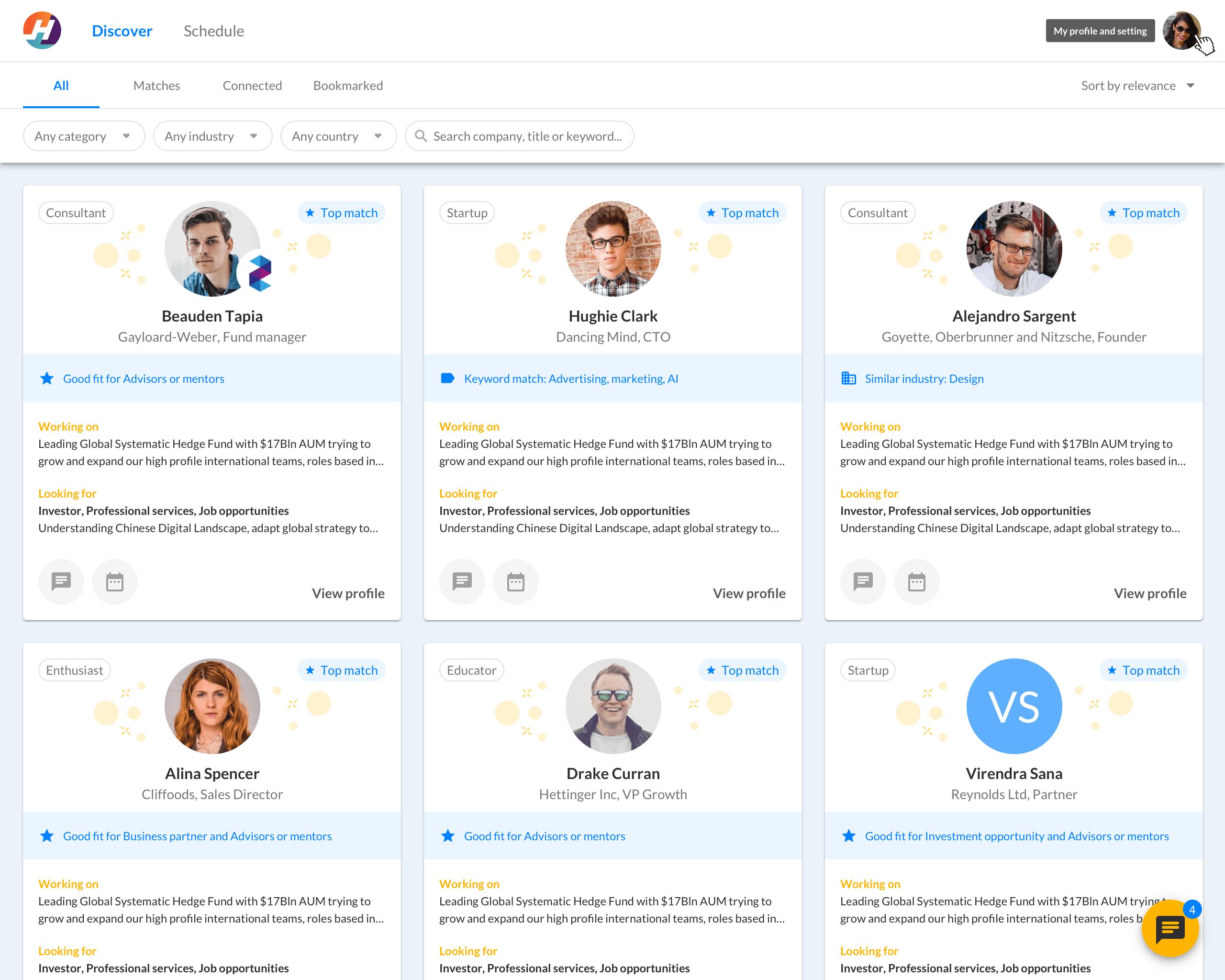 Toasty's matchmaking web platform