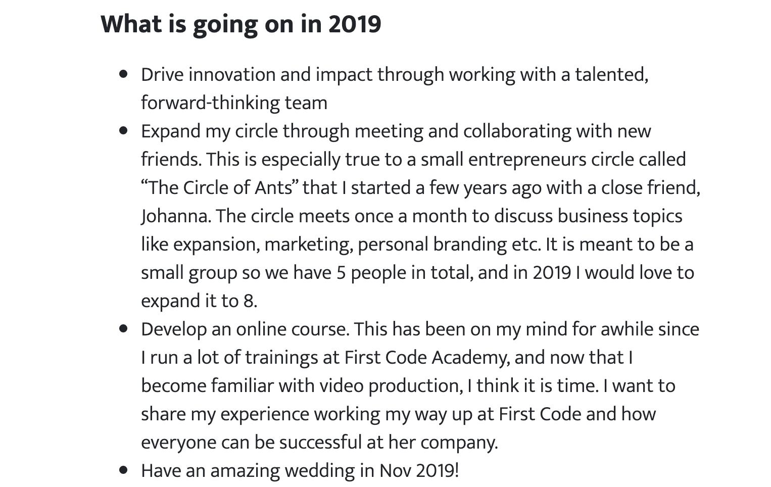 Kevon's 2019 Goals