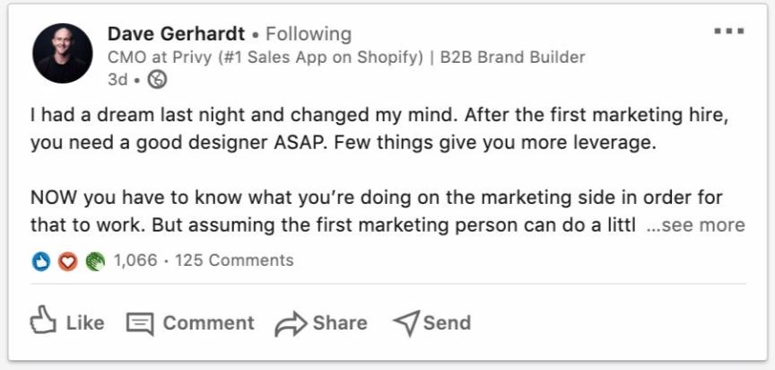 Dave Gerhardt's LinkedIn Post